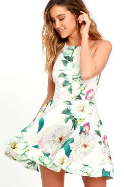 Lulus.com, $64, Style: Hydrangea Haven Cream Floral Print Skater Dress