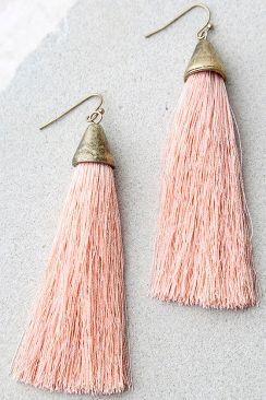 Lulus.com, $18, Style: Frazzle Dazzle Pink Tassel Earrings