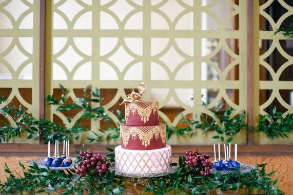 10 Fall Wedding Trends   Colorful Wedding Cakes   Maroon and Gold Wedding Cake   BridalGush.com