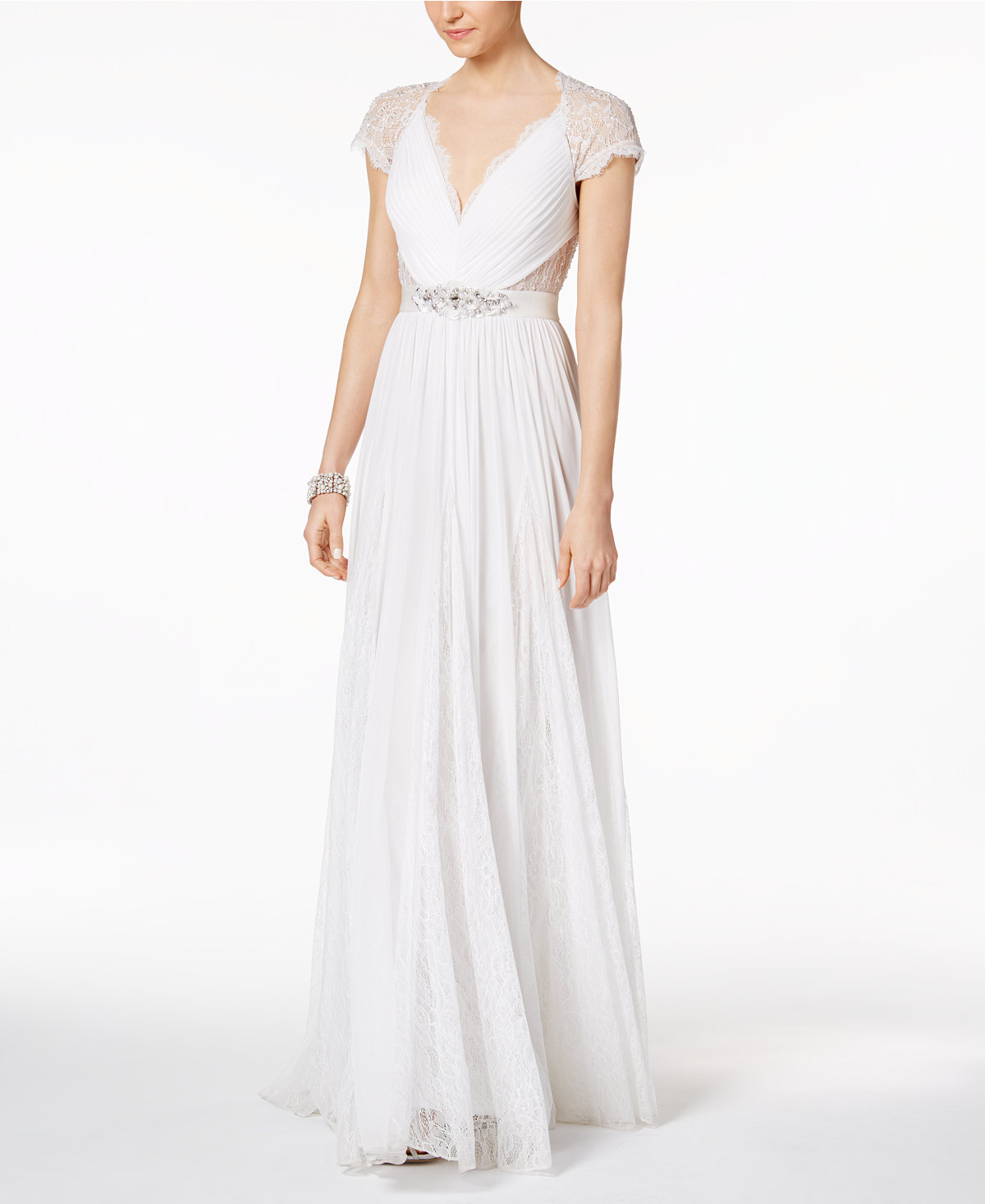 Adrianna Papell Illusion Embellished A-Line Gown   20 Wedding Dresses Under $1000   BridalGush.com