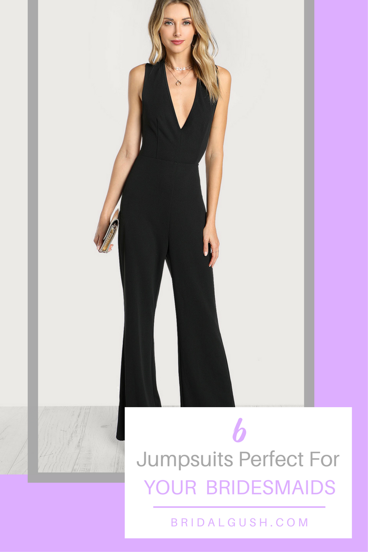 Ditch the dresses and give your girls something they will actually want to wear with these bridesmaids jumpsuits. Bridesmaids jumpsuits will be a sleek and stylish addition to your wedding day look. See how to get the look. | BridalGush.com | Bridesmaid Ideas | Bridesmaids | Bridal Party ideas | Unique Bridesmaid Ideas